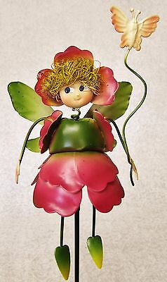 WHIMSICAL COLORFUL 3D METAL GARDEN STAKE ~ PINK PANSY FLOWER FAIRY W/ BUTTERFLY