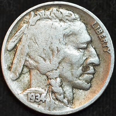 1934 P Buffalo Nickel, Very Good Condition, Free Shipping in USA, C2762