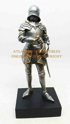 """Standing Medieval Gothic Knight With Sword Honorable Premium Decor Statue 9""""H"""