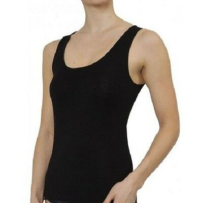 Pure Merino Wool Women Vest Singlet | Thermal Underwear New | Black Ivory Grey