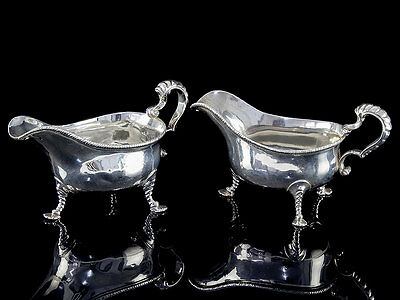 George II Sterling Silver Pair of Sauce Boats by John Pollock