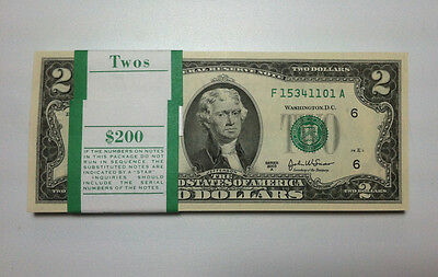 Mint, Uncirculated Two Dollar Bill, Crisp $2 Note, Sequential Order Up to 10