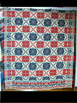 Antique 1849 Fiqured Jacquard Double-Woven Pa.coverlet Signed & Dated