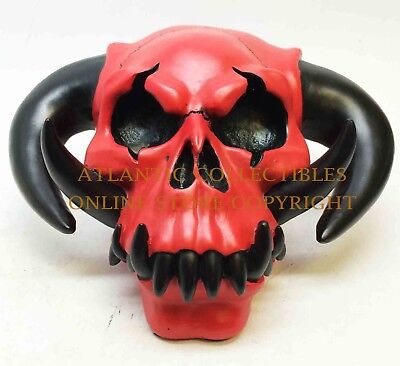 "Red Hell Boy Demon Skeleton Horned Skull Statue Figurine Resin Home Decor 6.75""L"