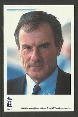 LORD MACLAURIN (ECB CHAIRMAN) OFFICIAL ECB CRICKET POSTCARD No.163
