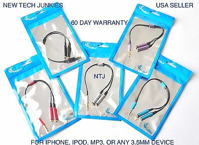 NTJ SPLITTER headphone jack 3.5mm aux auxiliary cable for iPod iPhone 4 5 6 plus