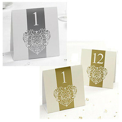 Vintage Romance Wedding Party Table Numbers  No's 1-12 Double Sided Freestanding