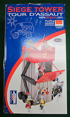 """LeToyVan  WOODEN SIEGE TOWER  for Papo / Schleich figures, 14"""" high, all wood"""