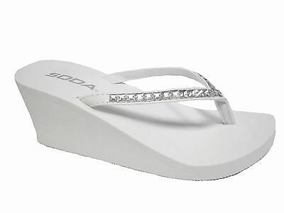 White Wedge Rubber Rhinestone Bridal Flip Flops Thongs Heels Sandals Shoes
