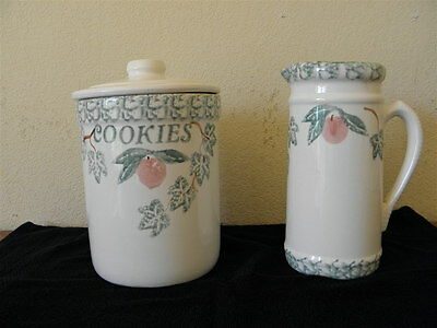 SANTA ANA CROCK SHOP 9 Inch Cookie Jar/ Pitcher Matching Combo EXC. Condition