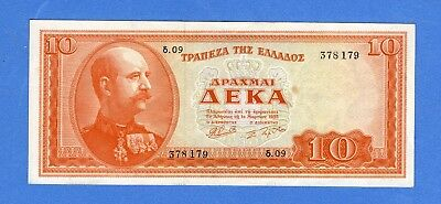 1955 Greece 10 Drachmai  Nice SOLID Crisp Note, High Grade (#1657)