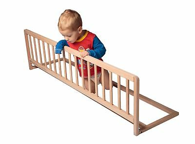 Safetots Wooden Extra Wide Baby Toddler Natural Bed Guard - Bed Rail for Nursery