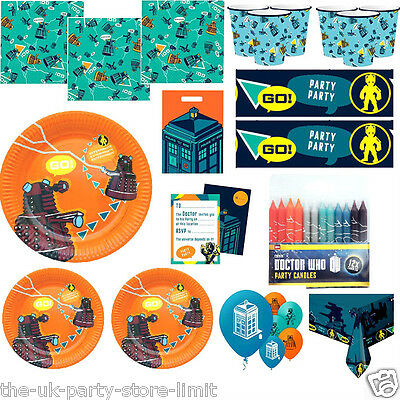 DOCTOR WHO Boys Birthday VALUE Party Plates Cups Napkins Balloons Loots Banner