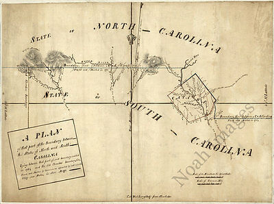 Map of boundary of North and South Carolina c1772 repro 26x20