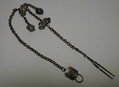 "Chinese Antique Silver Hanging Tool with Bats & Peaches Decor 16"" Long"