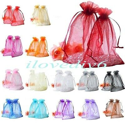 30/100pcs Organza Jewelry Packing Pouch Wedding Favor Gift Bags Colors