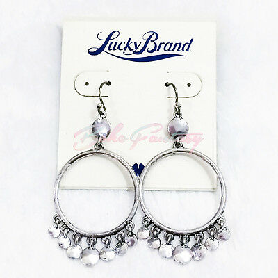 NWT $32 Lucky Brand Antiqued Silver Tone Disc Drop Hoop Hippy Earrings