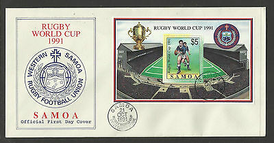SAMOA 1991 RUGBY WORLD CUP Souvenir Sheet FIRST DAY COVER