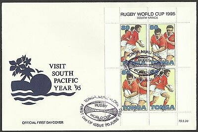 TONGA 1995 RUGBY WORLD CUP Sheet of 4 - 80s Pairs - FIRST DAY COVER