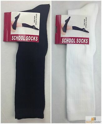 2 Pairs SCHOOL SOCKS Plain Ribbed Knee High Cotton Blend Girls Boys Unisex Kids