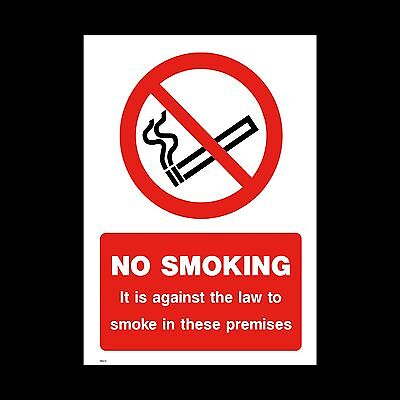 No Smoking Sign, Sticker - All Sizes & Materials, Premises, Law, Against (MISC9)
