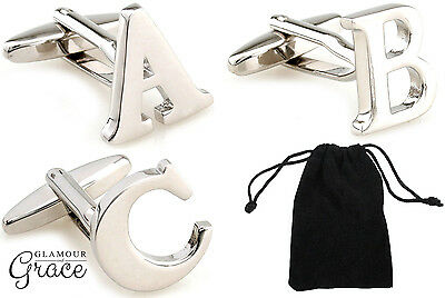 Monogram alphabet initial letter cufflinks wedding bridal groom fathers day