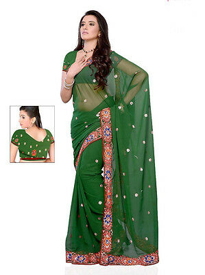 Indian sari Bollywood stylish wedding party wear latest Green Border sarees 9836