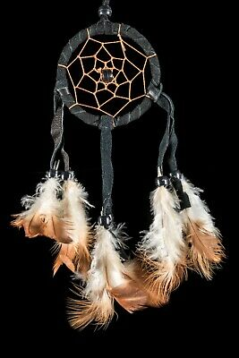 SMALL HANDMADE NATIVE DREAM CATCHER IN BLACK SUEDE LEATHER DREAMS / dcle06bla