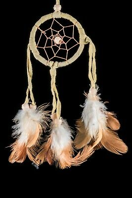 SMALL 6CM HANDMADE NATIVE DREAMCATCHER IN CREAM SUEDE LEATHER DREAMS / dcle06cre