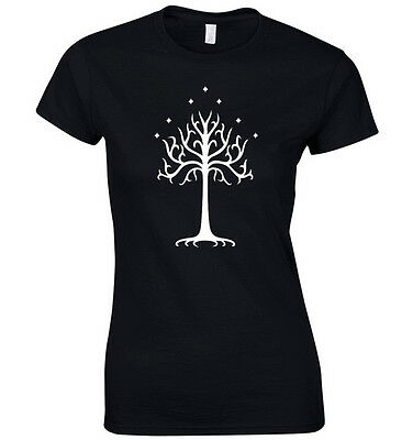 LORD OF THE RINGS SHIRT WHITE TREE OF GONDOR WOMENS S-XL