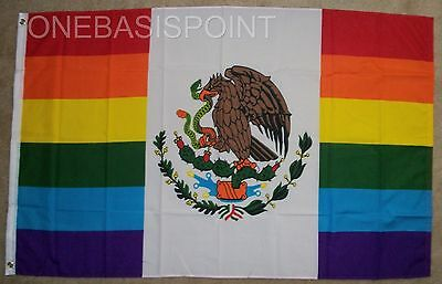 3x5 Mexico Rainbow Flag Peace GLBT Gay Pride Banner Lesbian Bisexual Mexican New