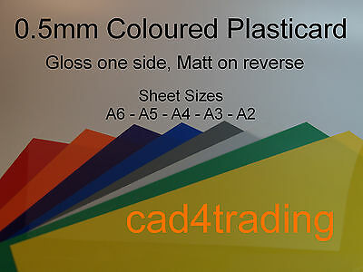0.5mm Plasticard Styrene Sheet Gloss Colour Vac Form Art Craft Hobby A6-A3 Size