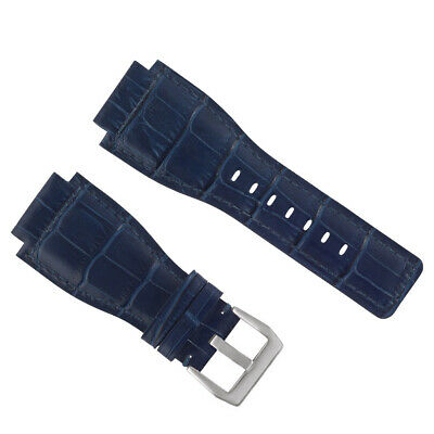 New 24Mm Leather Watch Band Strap For Bell & Ross Br-01-Br-03 Watch Blue Top Qly