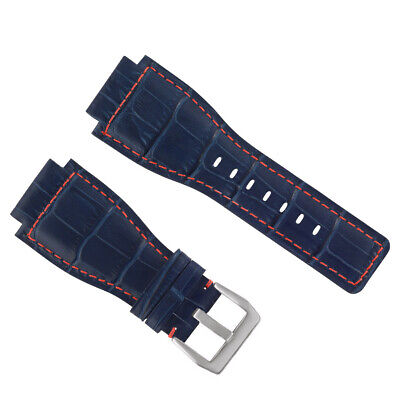 24Mm New Alligator Leather Watch Band Strap For Bell & Ross Br-01-03 Blue Red