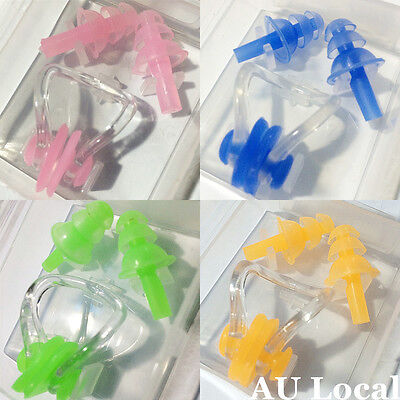Swimming Swim Nose Clip Silicone Earplugs Water Sports Set Tool OSPLU01