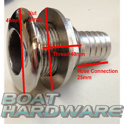 "Boat Skin Fitting 316 SS 1"" hose connection through hull outlet for Toilet"