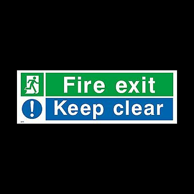 Fire Exit Keep Clear Sign, Sticker - All Sizes & Materials - Emergency (EE15)