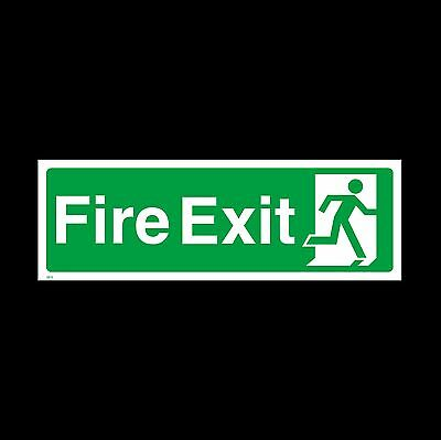 Fire Exit Here Sign, Sticker - All Sizes & Materials - Emergency (EE75)