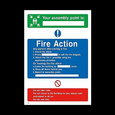 Fire Action Assembly Point Sign, Sticker - All Sizes & Materials Fire Exit (FA8)