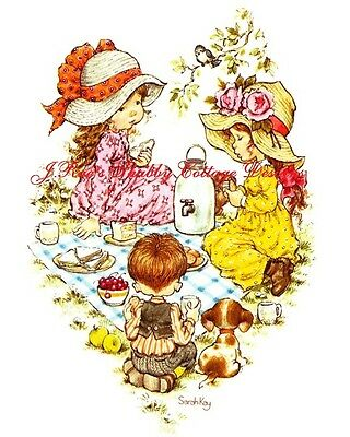 Adorable Little Girl Washing Dollies Clothes by Sarah Kay Fabric Block 5x7