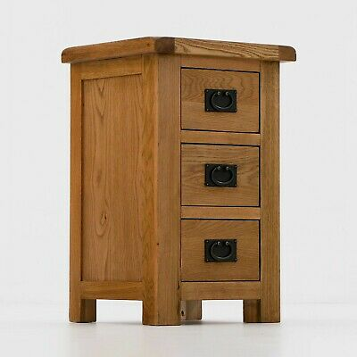Zelah - Oak Tall Bedside Table / Large Nightstand / Rustic Oak 3 Drawer Chest