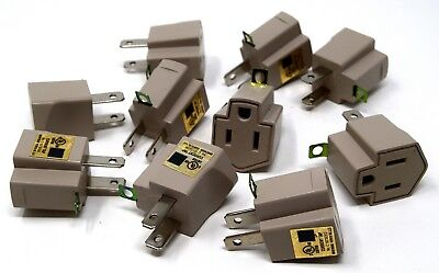 10 Pack 3 to 2 prong AC  Polarized Grounding AC Power Plug Adapter UL RATED GRAY