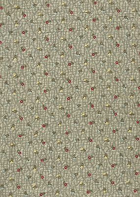 Antique 1875 Petite Red, Blue & Yellow Calico on Green Vines Fabric