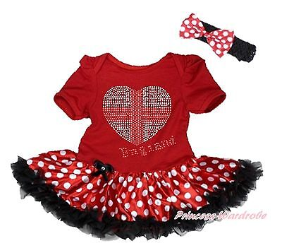 World Cup Rhinestone England Heart Red Girl Bodysuit Minnie Baby Dress NB-18M