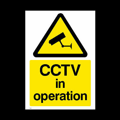 CCTV Sign, Sticker - 150mm x 200mm (A5) - Security, Camera, Warning  (MISC11)