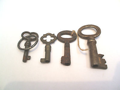 "Collection of Four Vintage Cabinet Keys 1.25"" To 1.75""Long"
