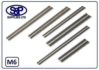 6MM (M6-6mm) STAINLESS STEEL THREADED BAR STUDDING 100MM UPTO 350MM LONG METRIC