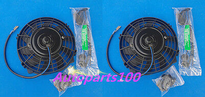 TWO  7 Inch 12V Reversible ELECTRIC Thermo COOLING FAN + MOUNTING KITS