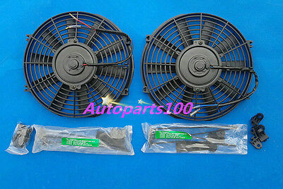 "TWO 10"" 12V volt PULL / PUSH SLIM RADIATOR ELECTRIC Thermo FAN+MOUNTING KITS"