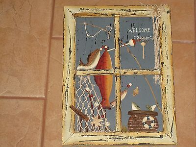 Primitive Window Pane Fishing Shadow Box Welcome Friends Picture Wall Hanging